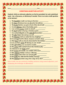 CHRISTMAS CREATIVITY SENTENCES: GRADES 3-7, ESL