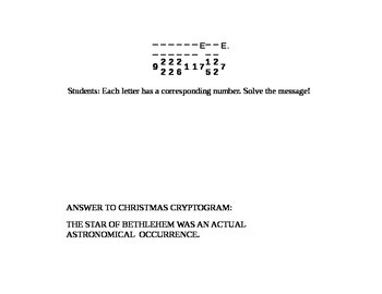 CHRISTMAS CRYPTOGRAM