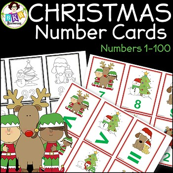 Christmas Cards ● Number Cards 1-100 ● Number Recognition