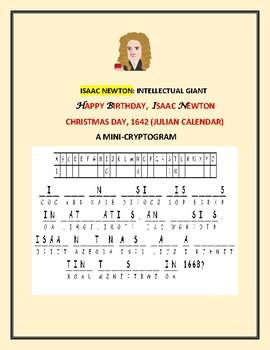 CHRISTMAS DAY: HAPPY BIRTHDAY, ISAAC NEWTON: A MINI-CRYPTOGRAM