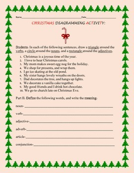 CHRISTMAS DIAGRAMMING ACTIVITY