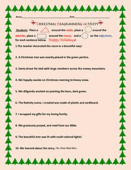 CHRISTMAS DIAGRAMMING ACTIVITY