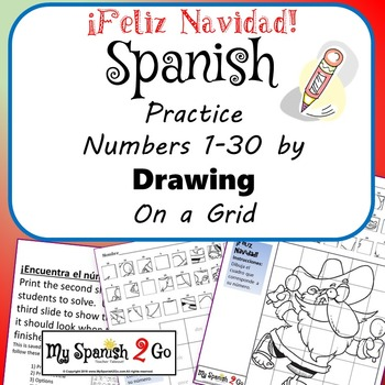 CHRISTMAS: Draw the Square in the Grid for Spanish #'s 1 to 30