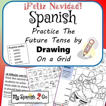 CHRISTMAS EDITION!  SPANISH REG FUTURE TENSE VERBS Draw on Grid