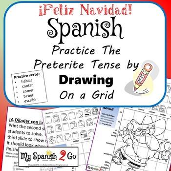 Christmas Edition Spanish Reg Preterite Ar Er Ir Verbs Draw On Grid