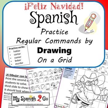 CHRISTMAS EDITION! SPANISH REGULAR COMMANDS Draw on Grid