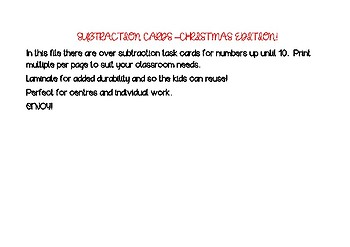 CHRISTMAS EDITION - Subtraction Cards - activities