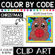 CHRISTMAS FACES Color by Code Clip Art