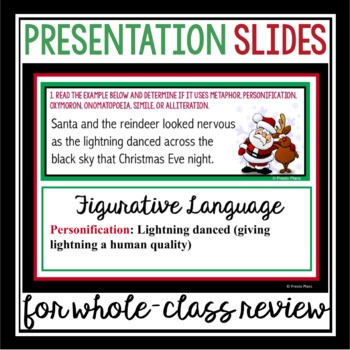 CHRISTMAS FIGURATIVE LANGUAGE TASK CARDS ACTIVITY