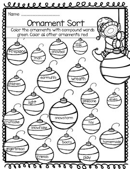 FREEBIE- Christmas Compound Word Sheets