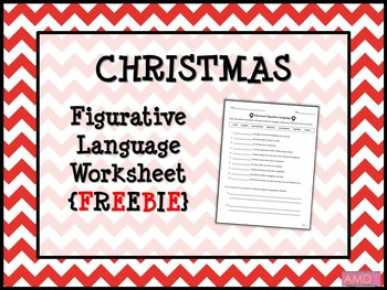 CHRISTMAS Figurative Language Worksheet FREEBIE by Mainly Middle