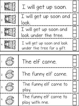 CHRISTMAS Fluency Strips Interactive Notebook