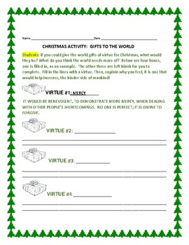 CHRISTMAS: GIFTS TO THE WORLD: A CHARACTER EDUCATION ACTIVITY