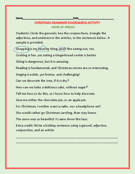 CHRISTMAS GRAMMAR DIAGRAM ACTIVITY: PARTS OF SPEECH/GRADES 5-9