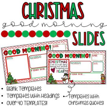 CHRISTMAS Good Morning Slide Templates- Traditional Colors