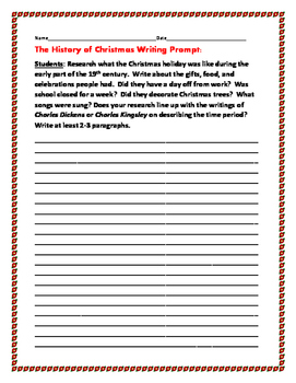 CHRISTMAS HISTORY WRITING PROMPT: Grades 8-12
