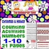 COUNTING 1-10 CHRISTMAS HOLIDAY FUN  21 Pages Worksheets and cards
