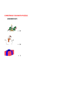 CHRISTMAS HOLIDAY MATH PUZZLE-GRADES 1-3