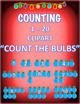 CHRISTMAS HOLIDAYS COUNTING 1- 20 COUNT THE LIGHT BULBS CLIPART