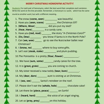 CHRISTMAS HOMONYM ACTIVITY