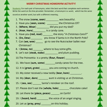 CHRISTMAS HOMONYM ACTIVITY