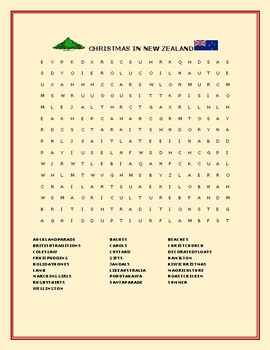 CHRISTMAS IN NEW ZEALAND: A FUN WORD SEARCH