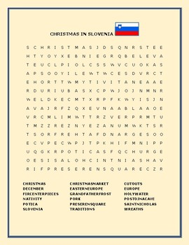 CHRISTMAS IN SLOVENIA: WORD SEARCH