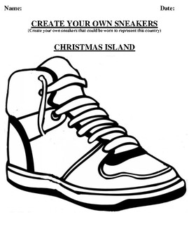 CHRISTMAS ISLAND Design your own sneaker and writing worksheet