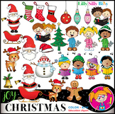 CHRISTMAS JOY Clipart. BLACK AND WHITE & Color Bundle. {Lilly Silly Billy}