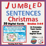 CHRISTMAS... Jumbled Sentences ... DIGITAL DECK + Printables Gr 3-4-5