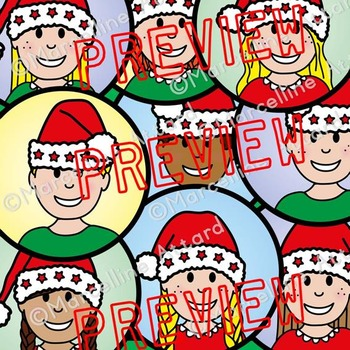 CHRISTMAS CLIPART KIDS WITH SANTA HAT