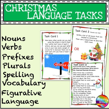 CHRISTMAS LANGUAGE ARTS SKILLS Task Cards Literacy Prefix Suffix Plurals Nouns