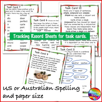 CHRISTMAS LANGUAGE ARTS SKILLS Task Cards Literacy Prefix Suffix Plurals Nouns