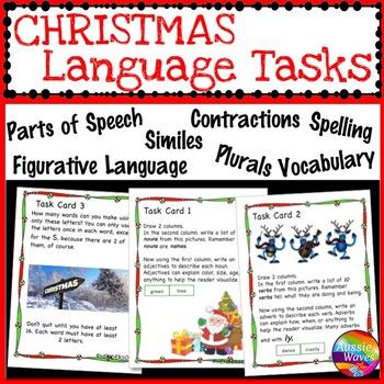 CHRISTMAS LANGUAGE ARTS SKILLS Task Cards SET 2 Literacy Plurals Nouns Punctuate