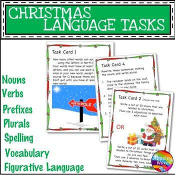 CHRISTMAS LANGUAGE ARTS SKILLS Task Cards Years 4-6 Plurals Nouns Punctuate