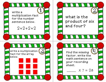 CHRISTMAS MATH Multiplication Task Cards