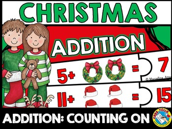 CHRISTMAS MATH ACTVITY KINDERGARTEN: ADDITION PUZZLES (COUNTING ON STRATEGY)