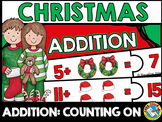 CHRISTMAS MATH ACTIVITY KINDERGARTEN: ADDITION PUZZLES (COUNTING ON STRATEGY)