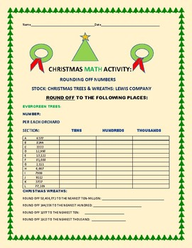 CHRISTMAS MATH ACTIVITY/ QUIZ: ROUNDING OFF!