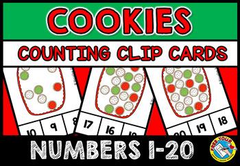 CHRISTMAS MATH CENTER: COOKIES KINDERGARTEN COUNTING ACTIVITIES: 1-20