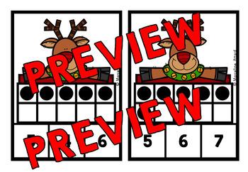 CHRISTMAS MATH CENTER: RUDOLPH TEN FRAMES CLIP CARDS (K + PRE K CENTER)