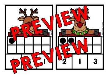 CHRISTMAS MATH CENTER KINDERGARTEN (RUDOLPH TEN FRAMES ACTIVITY)