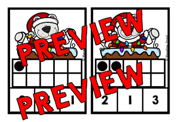 COUNTING/ SUBITIZING ACTIVITIES: CHRISTMAS MATH CENTER: TEN FRAMES CLIP CARDS
