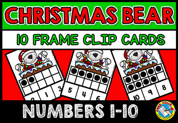 COUNTING OR SUBITIZING ACTIVITIES (CHRISTMAS MATH CENTER) TEN FRAMES CLIP CARDS