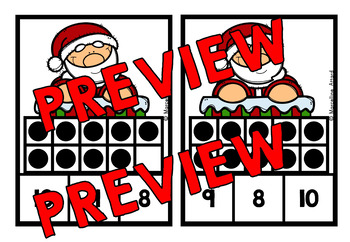CHRISTMAS MATH CENTER: SANTA TEN FRAMES CLIP CARDS (K + PRE K CENTER)