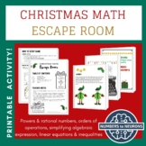CHRISTMAS - MATH ESCAPE ROOM - Middle & High School