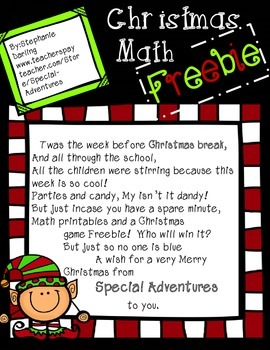 CHRISTMAS MATH FREEBIE!  DOUBLES AND TEN PARTNERS
