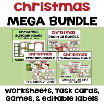 Christmas Math Mega Bundle - Worksheets, Task Cards, and P