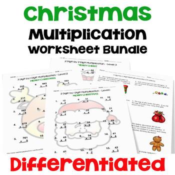 Christmas Multiplication Worksheet Bundle (3 Levels PLUS Word Problems)