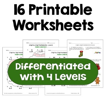 Christmas Multiplication Worksheet Bundle (Differentiated with Word Problems)